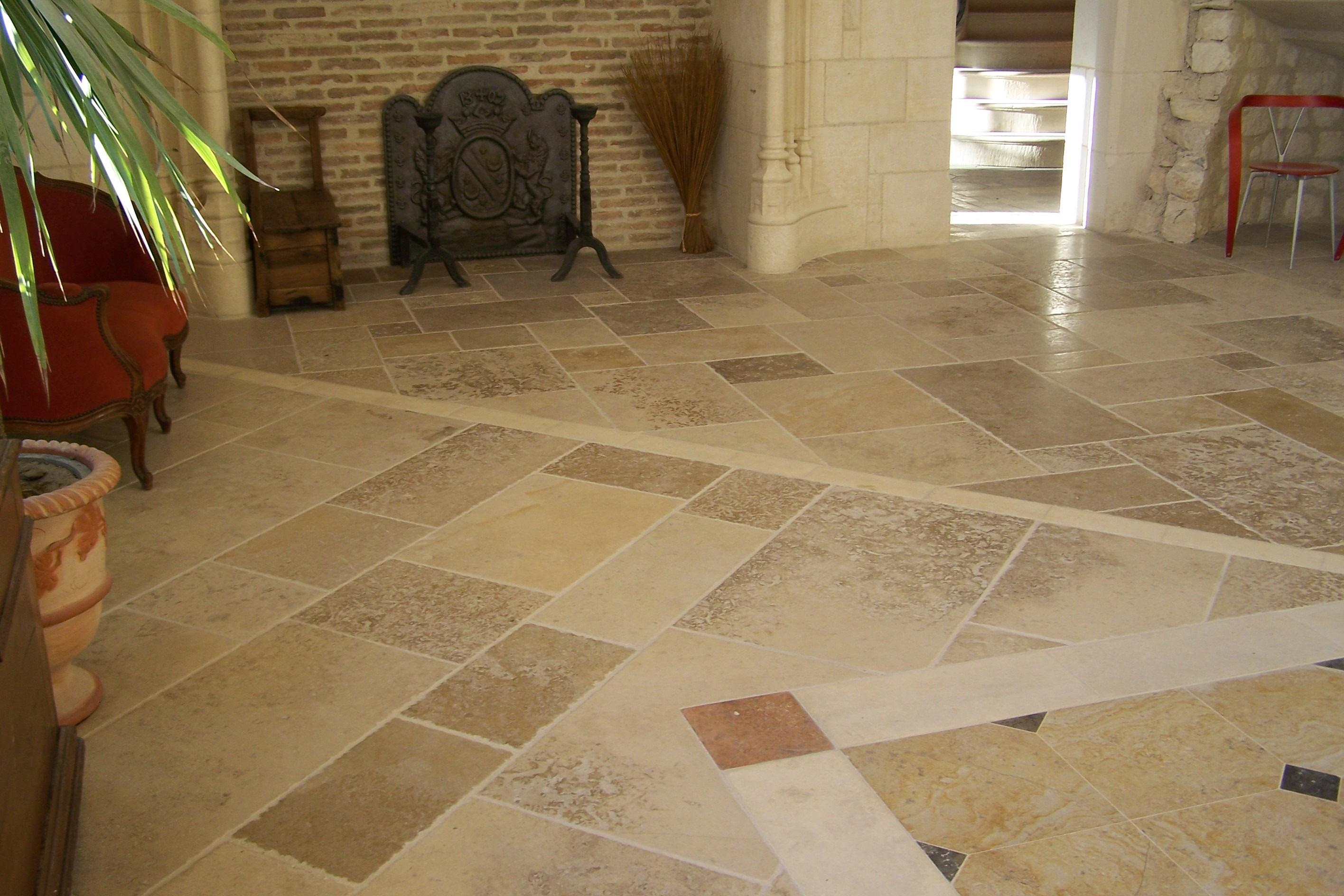 Limestone tile floor